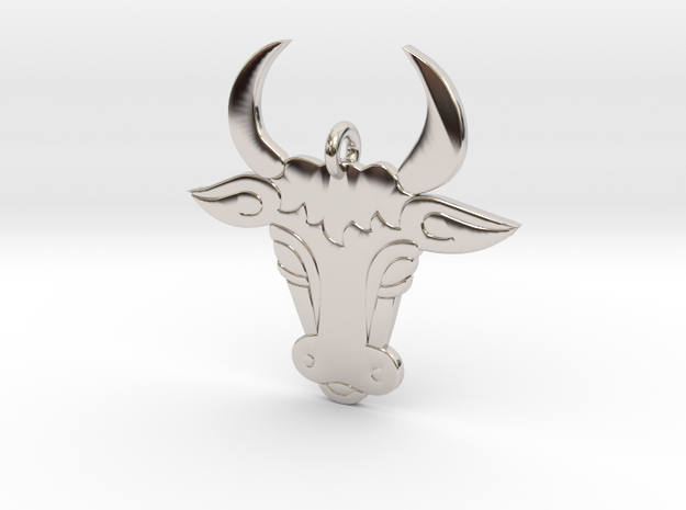 Bull Face Pendant 3D Printed Model in Rhodium Plated Brass: Medium