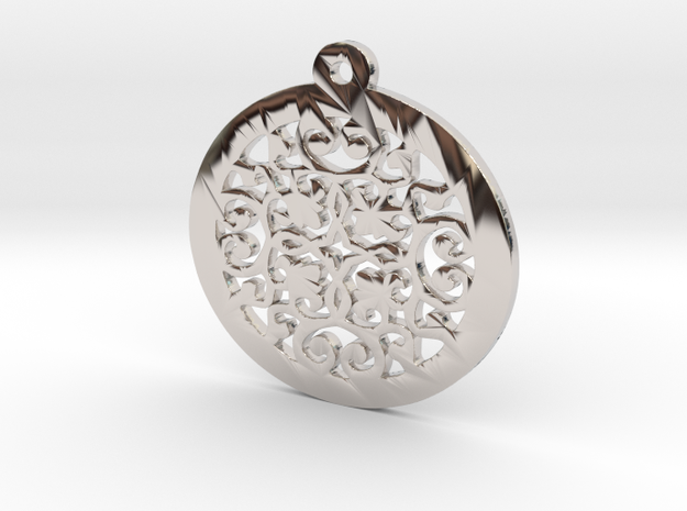 KTPD02 Die Cutting Design Pendant jewelry  in Rhodium Plated Brass