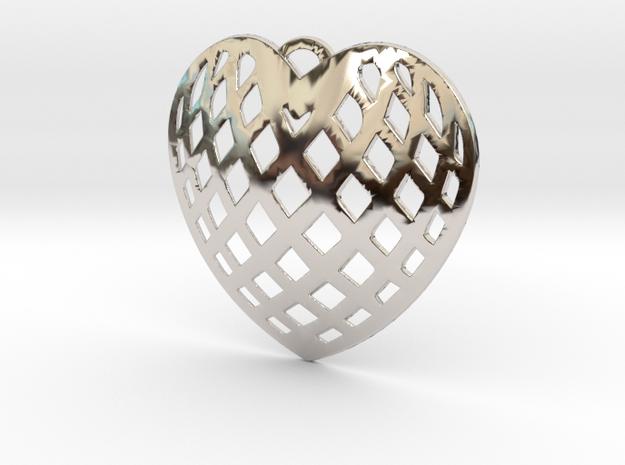 KTFHP01 Filigree Heart Pendant Jewelry in Rhodium Plated Brass