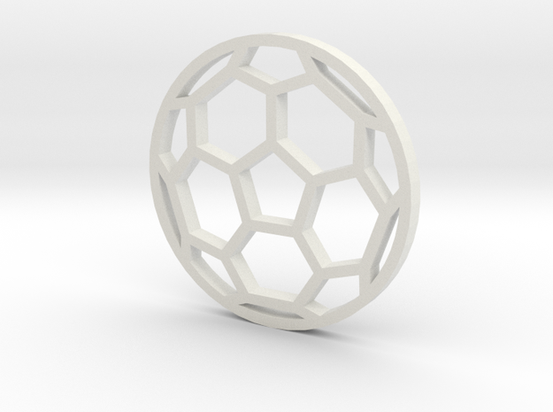 Soccer Ball - flat- outline in White Natural Versatile Plastic