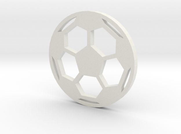 Soccer Ball - flat- filled in White Natural Versatile Plastic