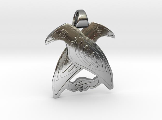 Odin's ravens [pendant] in Polished Silver
