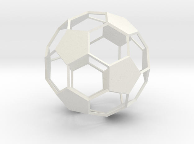 Soccer Ball - wireframe - 2 in White Natural Versatile Plastic