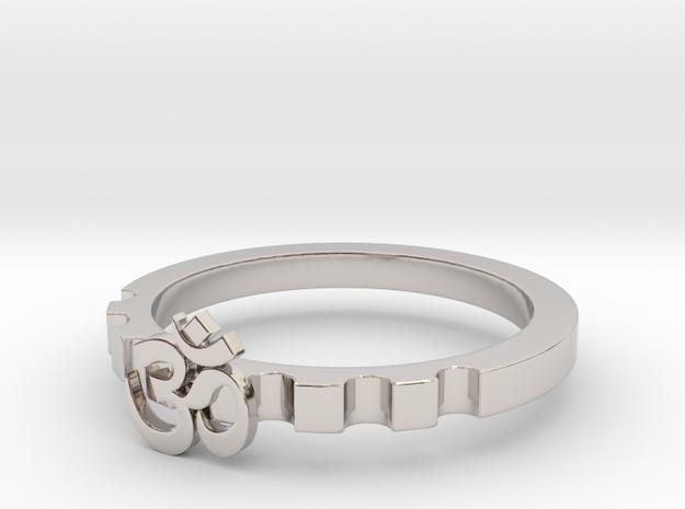 OM Modern Ring Designs Size10 in Rhodium Plated Brass