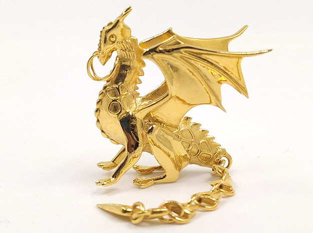 Mighty Norse Dragon pendant in 14k Gold Plated Brass