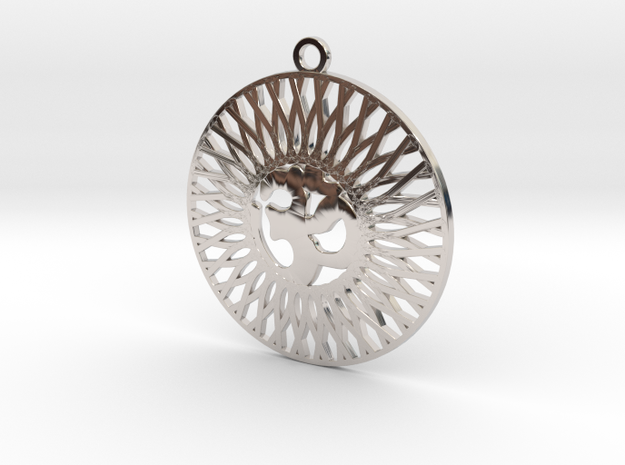 Fancy Pendant   Om  in Rhodium Plated Brass