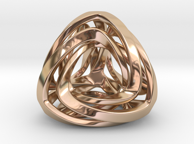 Twisted Tetrahedron  Pendant in 14k Rose Gold Plated Brass