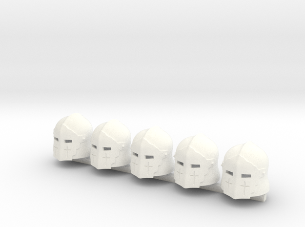 5 x Medieval Knight T1 in White Processed Versatile Plastic