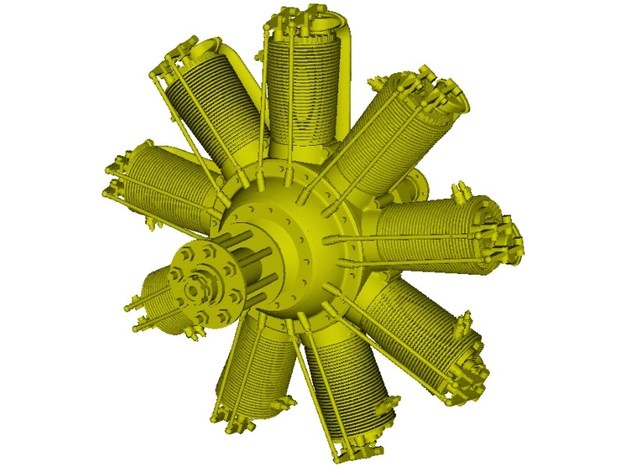 1/15 scale Clerget 9B 130 Hp radial engine x 1 in Smooth Fine Detail Plastic