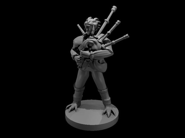 Dragonborn Male Bard with Bagpipes 2 in Smooth Fine Detail Plastic