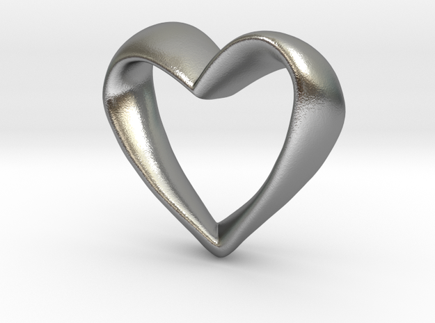Twisted Heart in Natural Silver