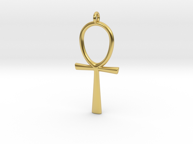Egyptian Ankh Pendant in Polished Brass
