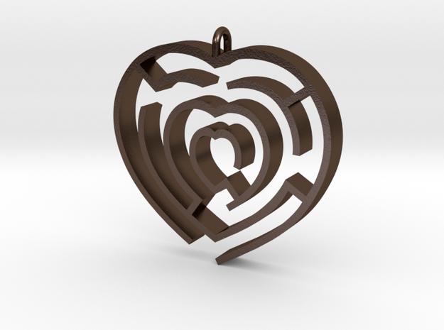 Heart maze pendant 3d printed