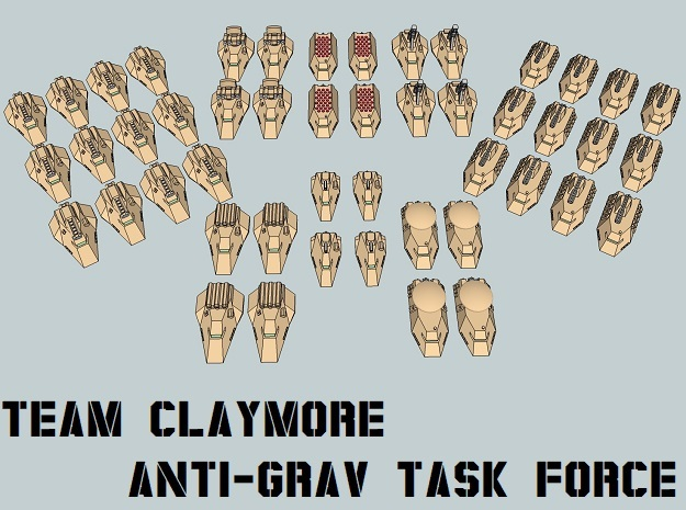 """Team Claymore"" 3mm Anti-Grav Task Force (48pcs) in Smooth Fine Detail Plastic"