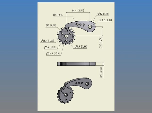 Ratchet - Steel (mechanical part for a 3D weaving  in Polished Bronzed-Silver Steel
