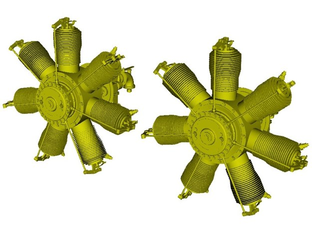 1/24 scale Gnome 7 Omega rotary engines x 2 in Smooth Fine Detail Plastic