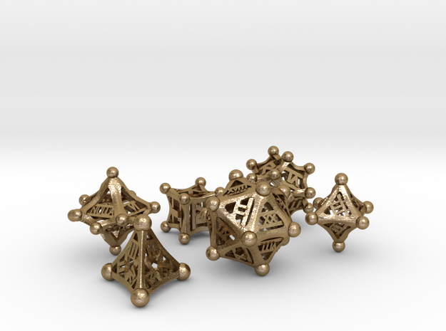 Roman polyhedral set in Polished Gold Steel