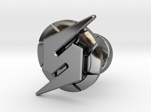 Metroid Symbol Cufflink in Fine Detail Polished Silver