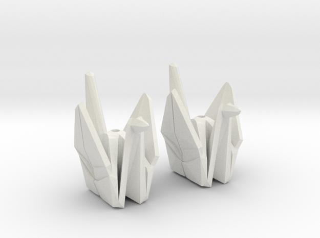 Origami Crane Bead Earrings in White Natural Versatile Plastic