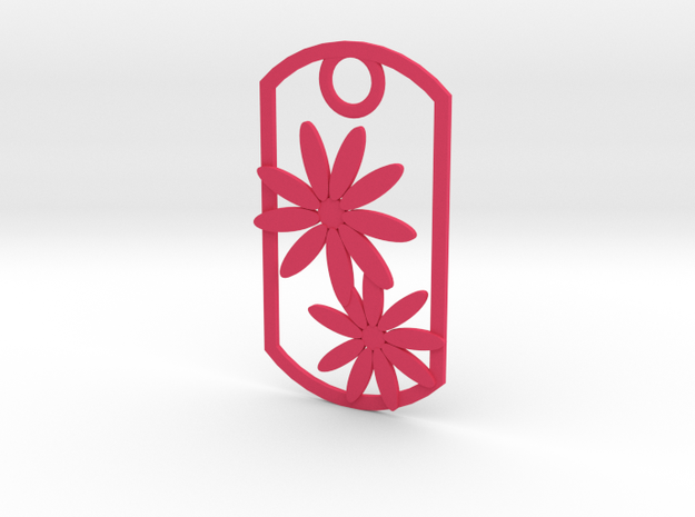 Daisy dog tag in Pink Processed Versatile Plastic