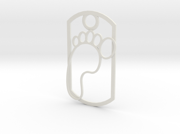 Footprint dog tag in White Natural Versatile Plastic