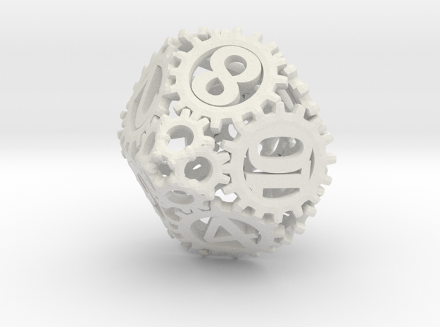 Static Gear Die (D10) in White Natural Versatile Plastic