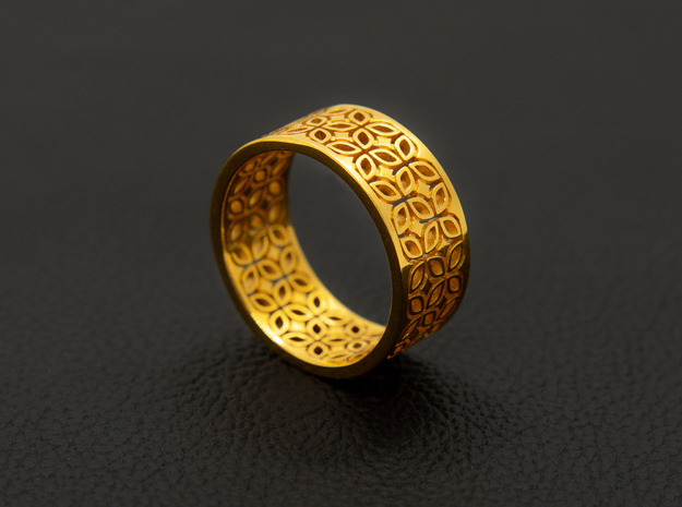 Kawung Filigree Gold Ring in 14k Gold Plated Brass: 8 / 56.75