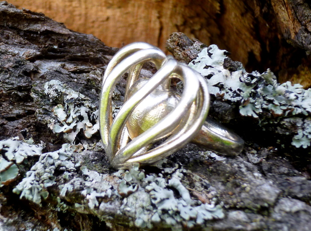 Heart Cage Ring in Polished Silver
