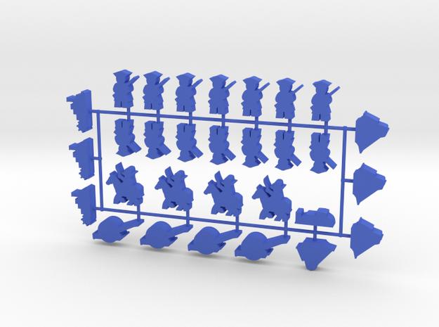 Custom Order, Blue 1 + 2, 30-set in Blue Processed Versatile Plastic