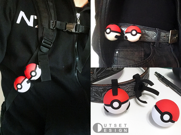 Small pokeball holder - Flat base version - 1:1 sc in Black Natural Versatile Plastic