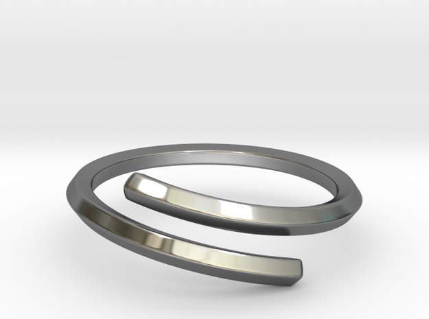 Pentagon Open Ring in Fine Detail Polished Silver: 10 / 61.5