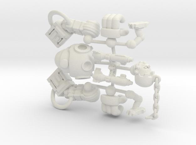 Mingrol 12mm tall - Assault Robot 2000AD in White Natural Versatile Plastic