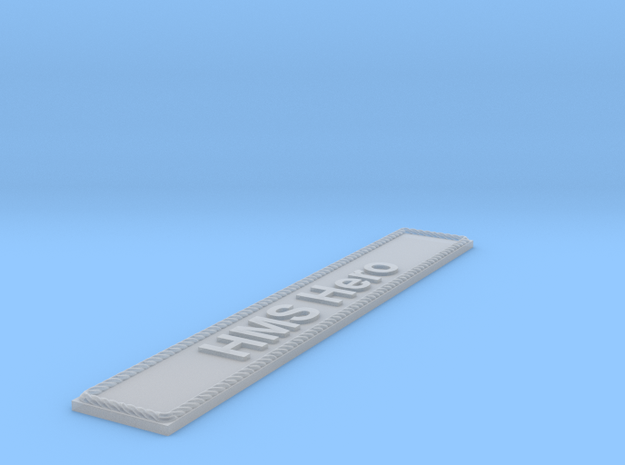 Nameplate HMS Hero in Smoothest Fine Detail Plastic