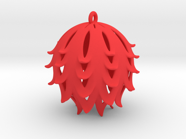 Pierced Thistle Ball in Red Strong & Flexible Polished