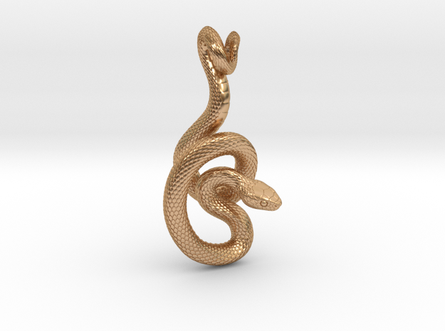 Snake Pendant_P06 in Polished Bronze