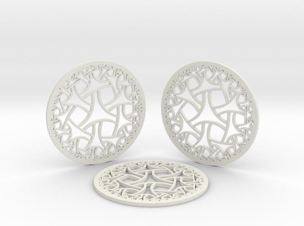 Hyperbolic Coasters in White Natural Versatile Plastic