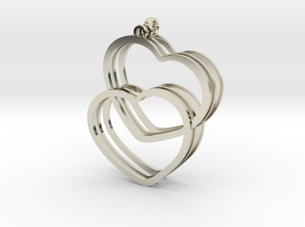 2 Hearts earrings and necklace pendant set 3d printed