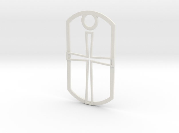 Dog tag - hollow cross in White Natural Versatile Plastic