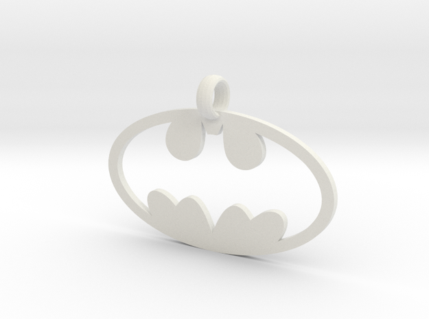 Batman necklace charm in White Natural Versatile Plastic
