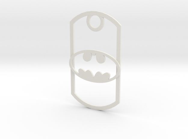 Batman dog tag in White Natural Versatile Plastic