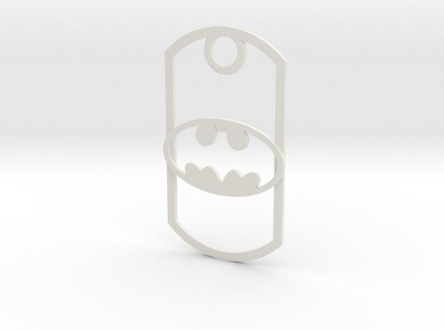 Batman dog tag in White Natural Versatile Plastic