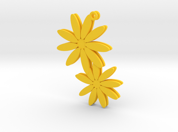 Daisy earrings - 1 pair in Yellow Processed Versatile Plastic