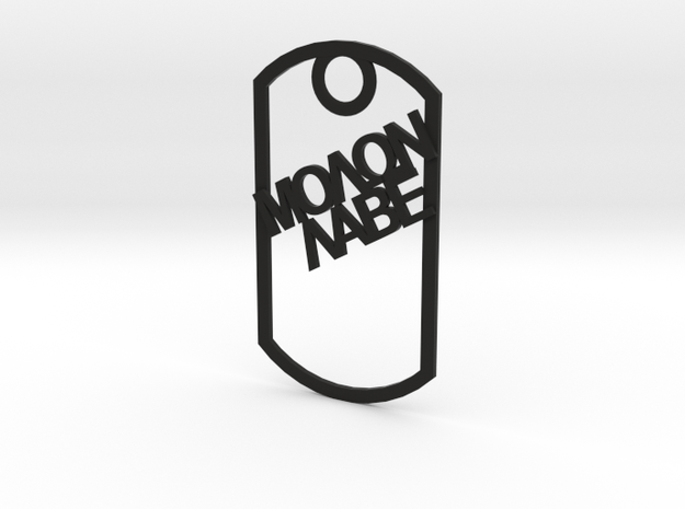 Molon Labe dog tag in Black Natural Versatile Plastic