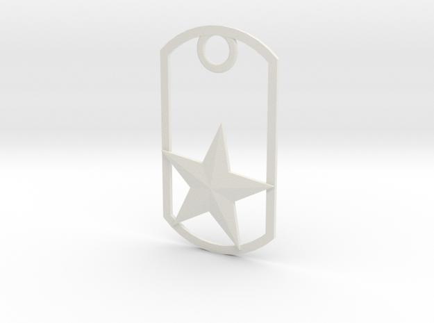 Star dog tag in White Natural Versatile Plastic