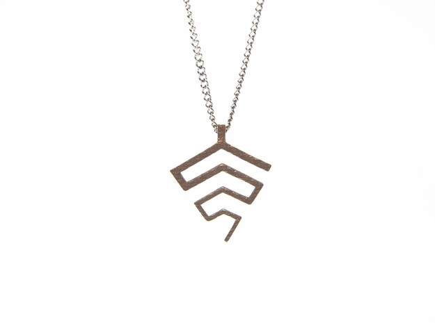 Ptyxi Pendant in Polished Bronzed-Silver Steel