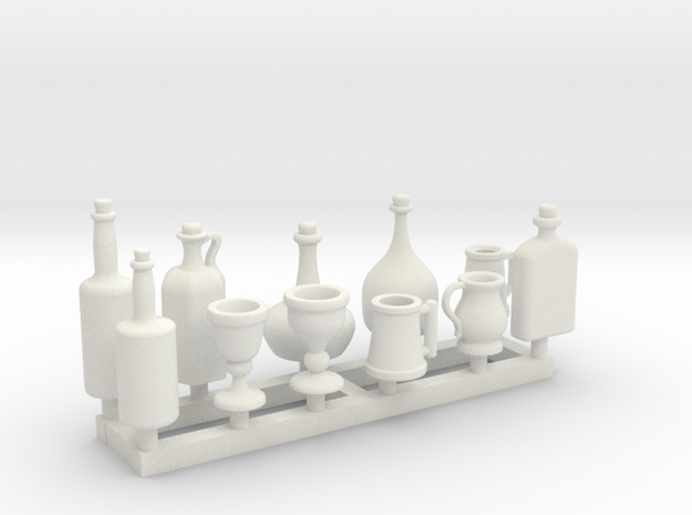 1:18 scale bottle and cup set 1 in White Natural Versatile Plastic