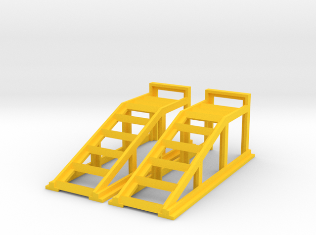 RC Garage 4WD Truck Car Ramps 1:18 Scale in Yellow Processed Versatile Plastic