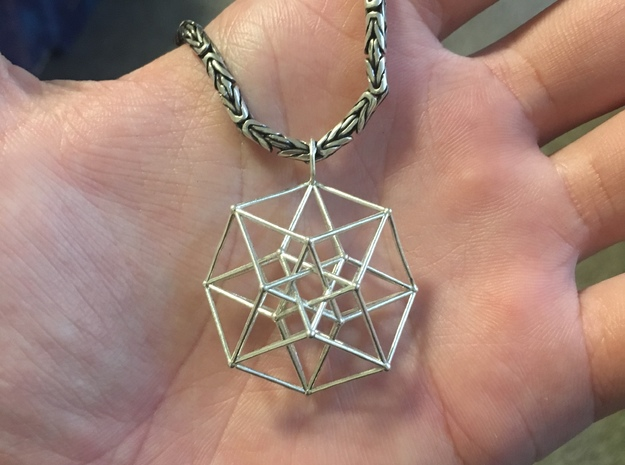 Tesseract Pendant in Natural Silver