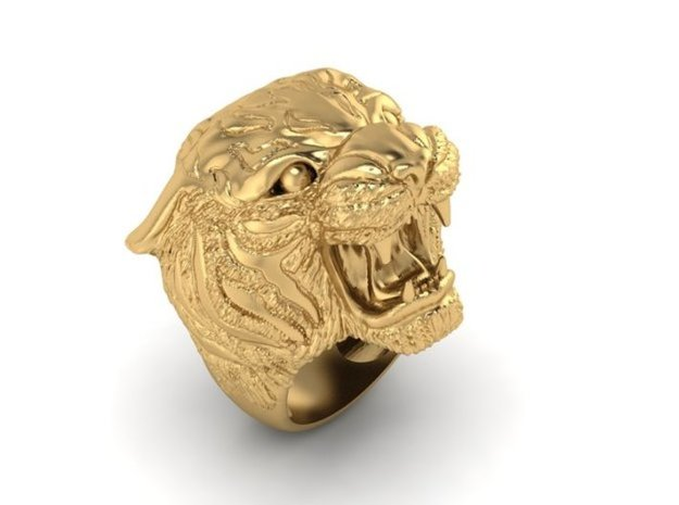 Tiger ring size 11 in 14K Yellow Gold