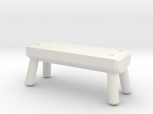 Miniature 1:48 Rustic Log Bench in White Natural Versatile Plastic
